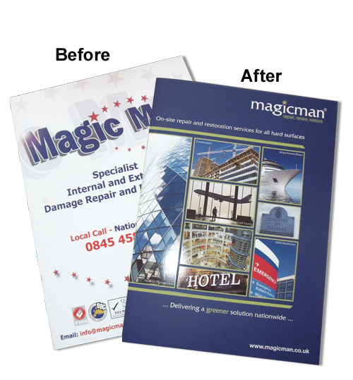 The magicman rebrand included new logo, brochure, website and livery.