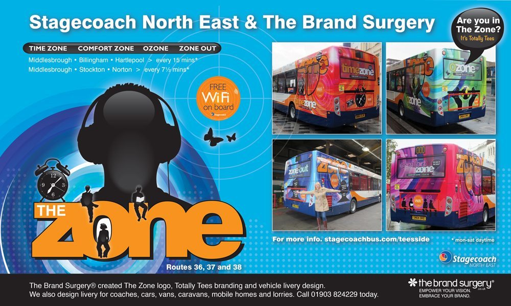 Bus livery design and logo design: The Zone, Stagecoach North East