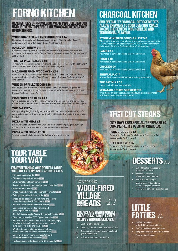 Fat Greek Taverna Restaurant Menu