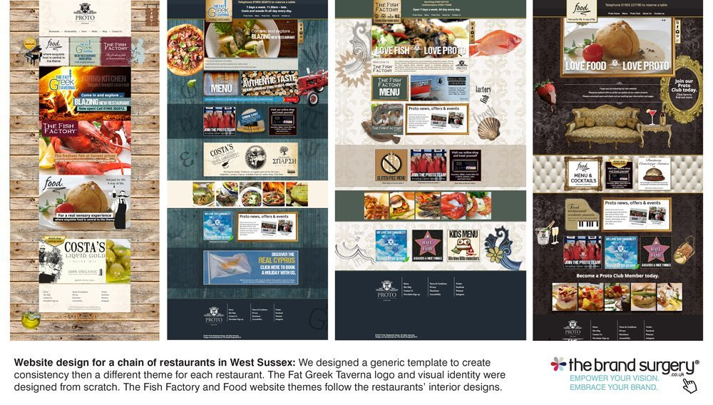 Website, logo and menu design for Proto Restaurant Group
