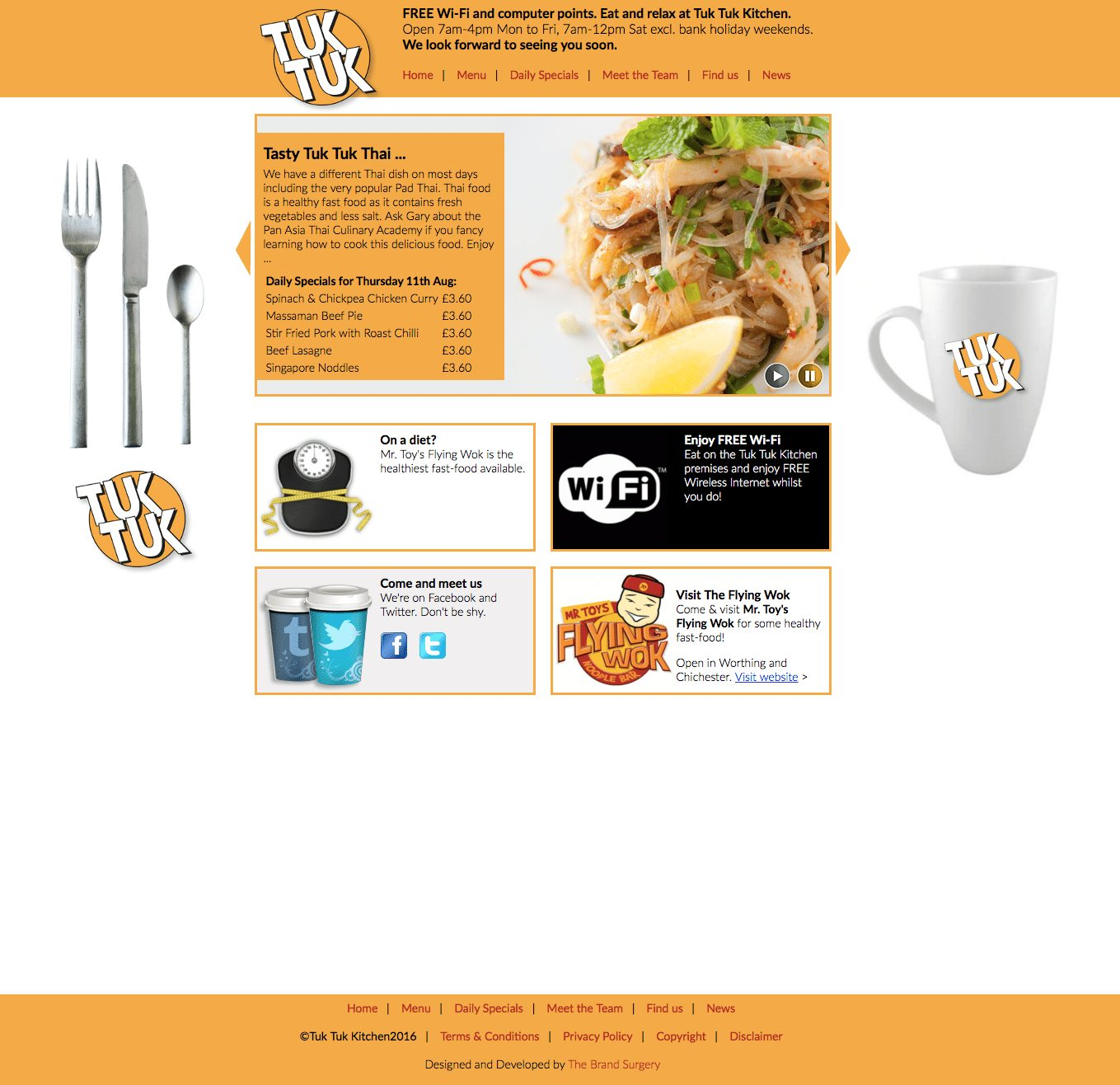 Website design for Tuk Tuk Restaurant