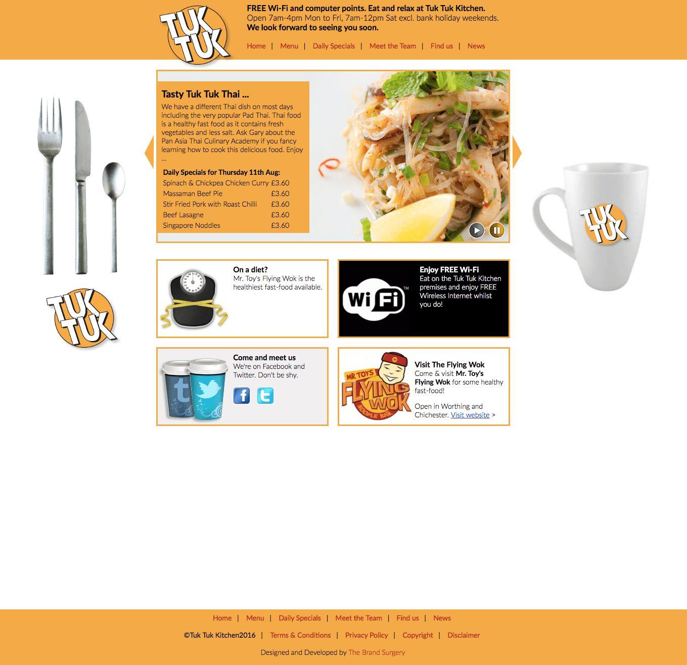 Website design for Tuk Tuk Restaurant