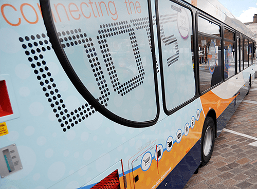 Bus livery and branding for The Dots – Stagecoach North East