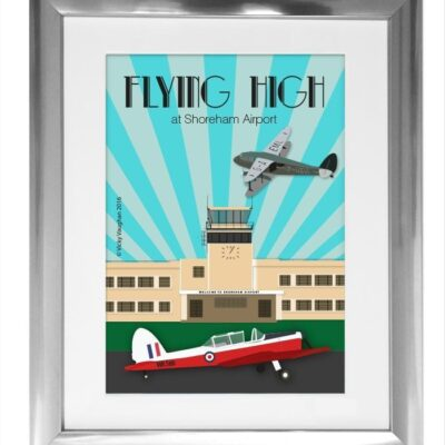 "Framed Art Deco style Shoreham airport illustration featuring de Havilland Canada DHC-1 Chipmunk and de Havilland Dragon Rapide plane. Perfect for anniversary, birthday, Christmas gift. Can be personalised for £25 extra. Please enquire. Graphic printed on 300gsm silk stock. A3 size. Complete with printers crop marks. Complete with silver frame. and white mount. Poster is A3 in size. The complete size including the silver frame is 20"" x 16""."