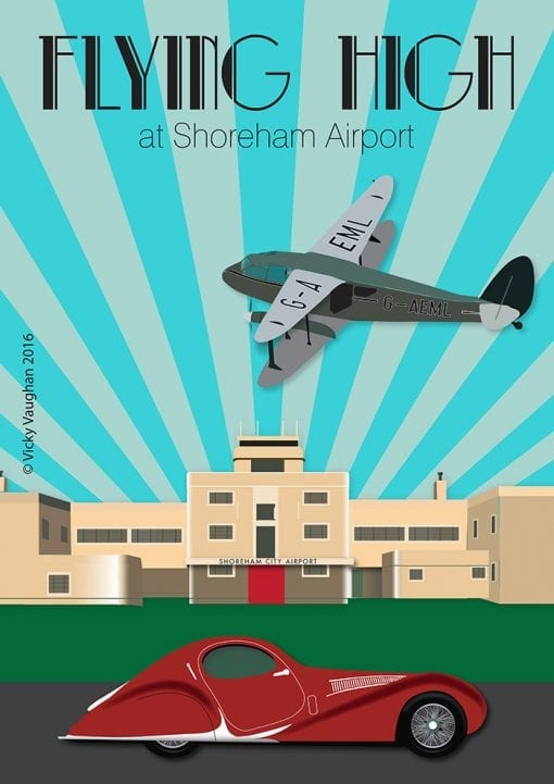 Art Deco style Shoreham airport illustration