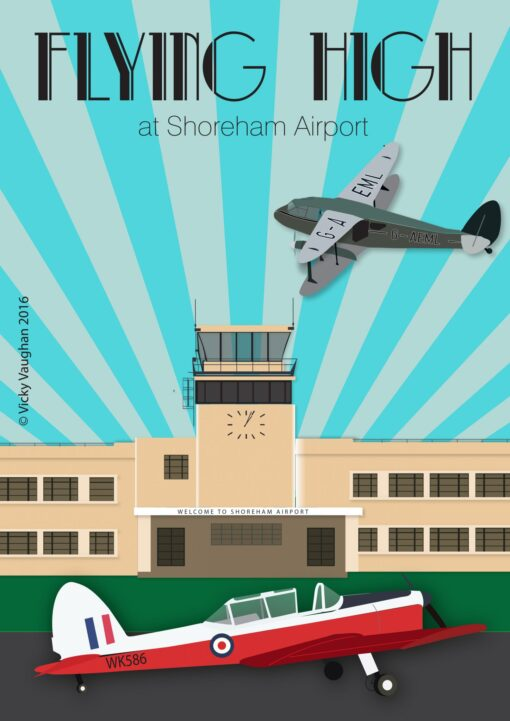 Unframed Art Deco style Shoreham airport illustration featuring Talbot-Lago car and Dragon rapide plane. Perfect for anniversary, birthday, Christmas gift.