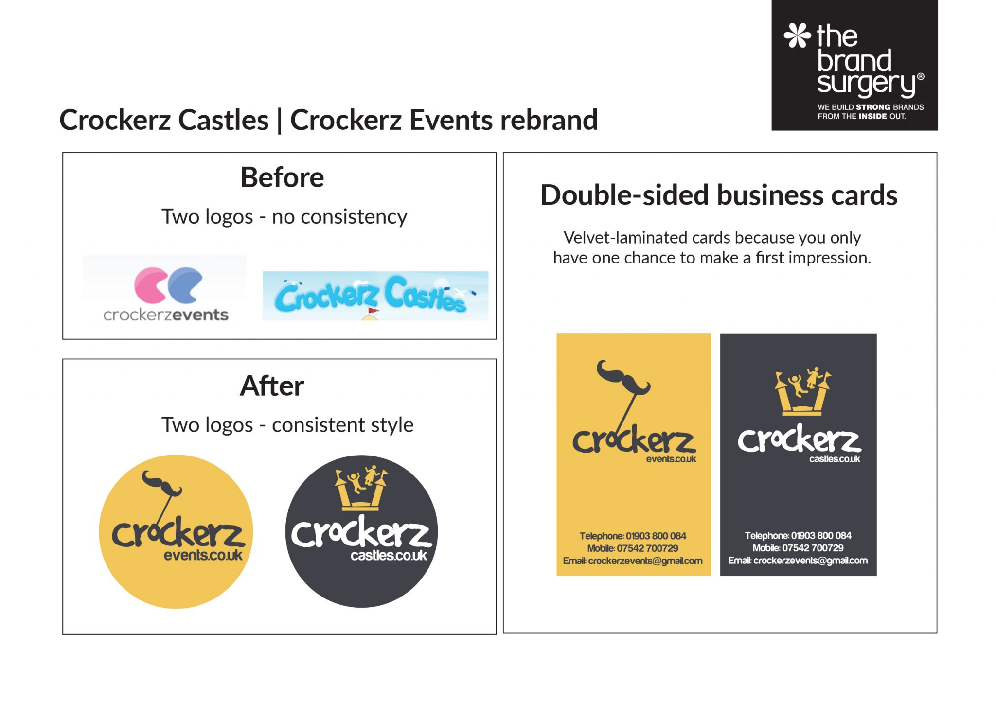 Logo and stationery design as part of rebrand for Crockerz Events and Crockerz Castles
