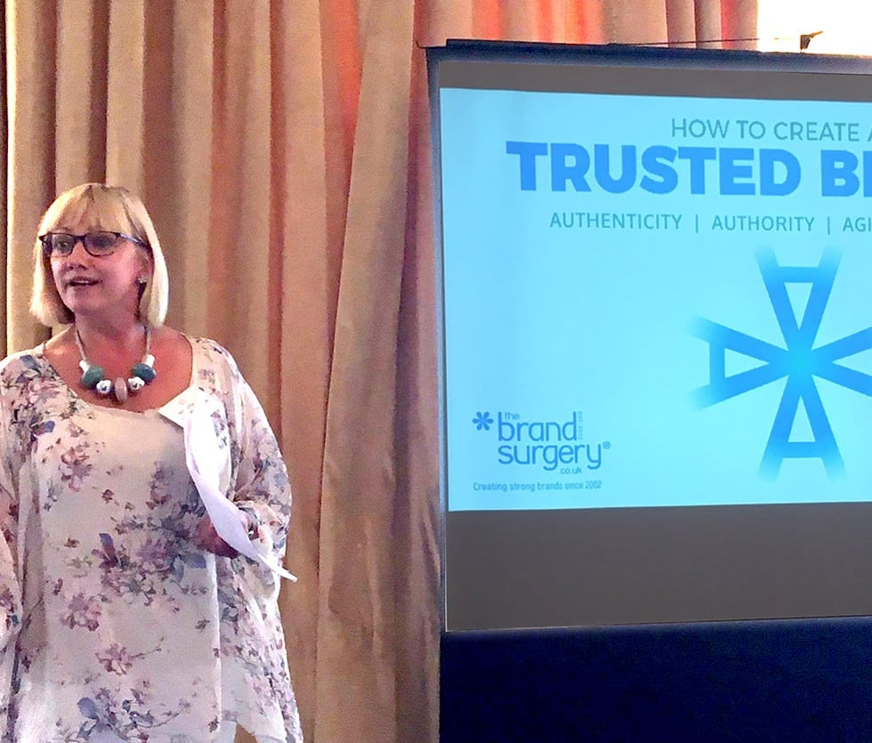 Vicky Vaughan sharing the 4A Brand Trust Tool at Institute of Directors
