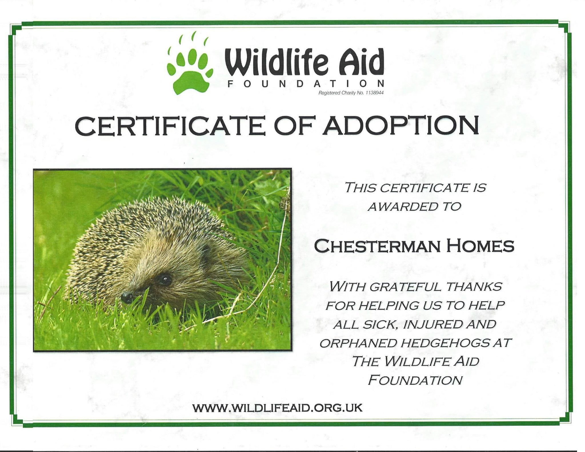Chesterman Homes - certificate of adoption for hedgehogs