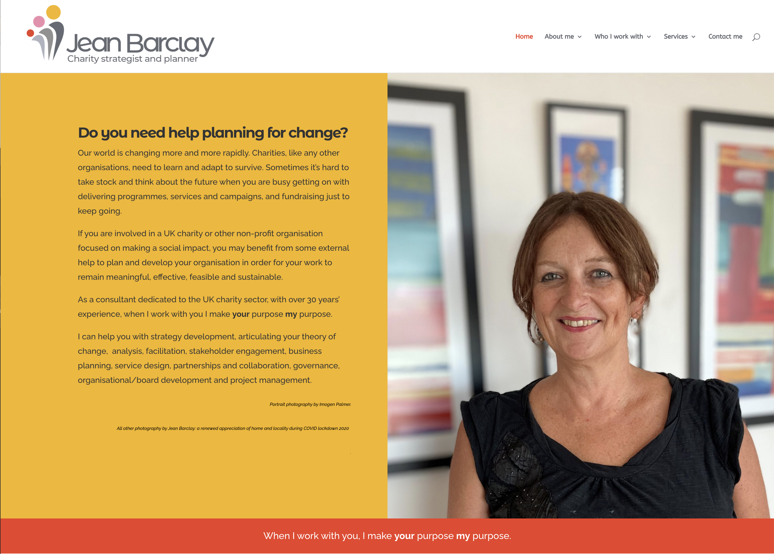 Website design and personal branding coaching for consultant to the charity sector