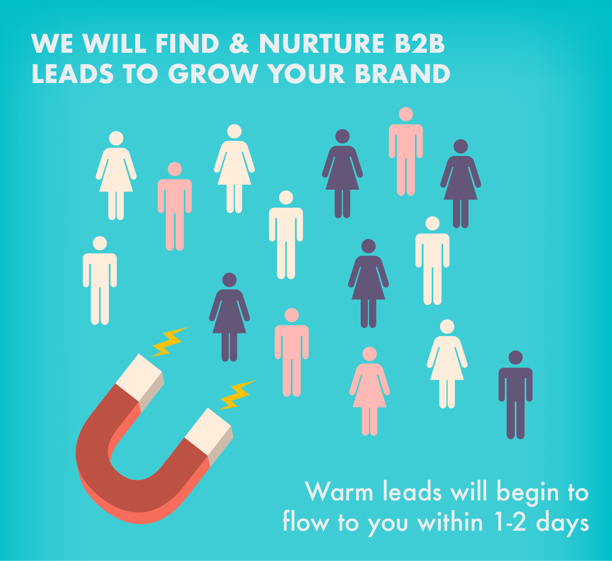 WE will find and nurture your B2B leads to grow your brand