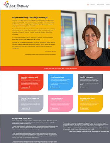 Charity Strategist website design for Jean Barclay