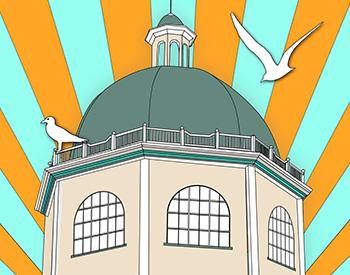 Sunny Worthing Illustration - art deco style, Worthing Dome Cinema